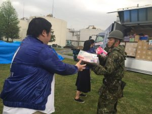 熊本大雨の中の作業